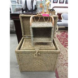 2 Wicker chests & small stand