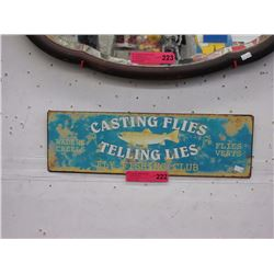 Tin fly fishing sign