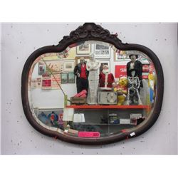 Vintage mirror with burned wood frame