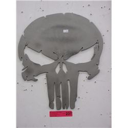 Sheet metal skull plaque