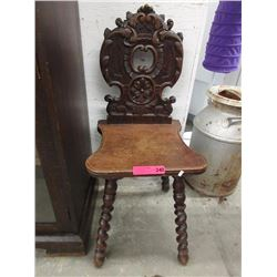 Antique oak music chair