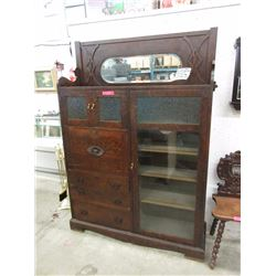 Antique Arts & Crafts drop front bookcase