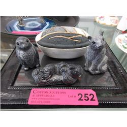 "3 ""Wolf"" Sculptures & 5"" Mesa trinket box"