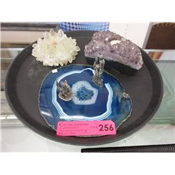Crystal formation candle holders & agate slice
