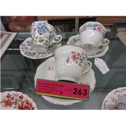 3 Vintage Foley teacup & saucers