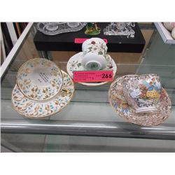 3 English bone china teacup & saucers