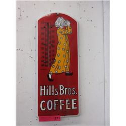 Hills Bros. Coffee metal advertising thermometer