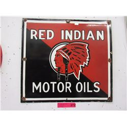 Porcelain Red Indian Motor Oil Sign