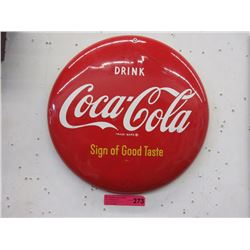 Metal Coca-Cola Button Sign