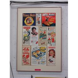 Framed assortment of vintage magazine ad's
