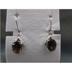 New 6.00 Carat Smokey Quartz & Diamond Earrings