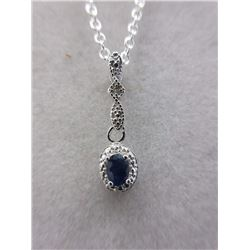 Blue Sapphire & Diamond Necklace/Pendant set