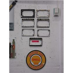 Shell gas sign & 7 motorcycle plate frames