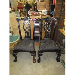 Pair Ball & Claw Foot Chippendale Shield Back Chairs