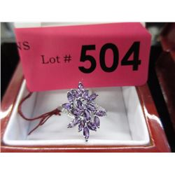 Diamond and Amethyst Cluster Ring - .925 Silver