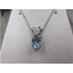 Blue Topaz & Sterling Silver Necklace - XO Bale