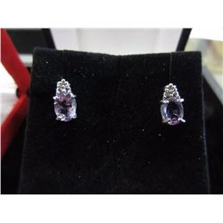 New Amethyst & Diamond Earrings set in Sterling