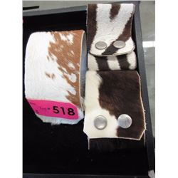 3 Genuine Cow Hide Cuff Bracelets - Snap Closures