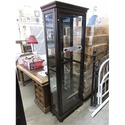 Interior lit glass display cabinet