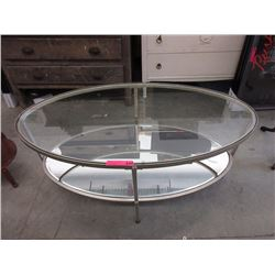 New glass top coffee table with metal base