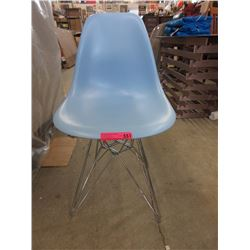 New Stylis Blue Casual Dining Chair w/ Chrome Legs