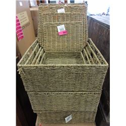 3 Sets of woven storage baskets