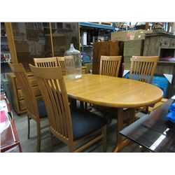 Mid-Century Teak Dining Table w/ 6 High-back Maple Chairs