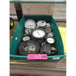 Box of vintage gauges