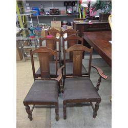 6 Vintage wood chair with leather seats