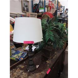 "27"" Table lamp with shade & faux plant"