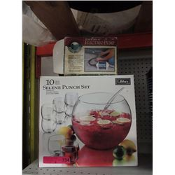 Glass punch bowl set & electric pump
