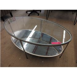 New glass top oval coffee table