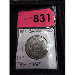 1950 Canadian Silver .50¢ Coin