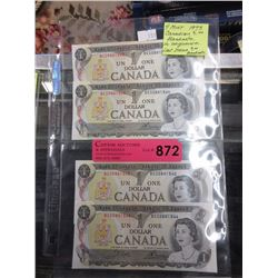 4 Mint 1973 Canadian $1 Bills in sequence