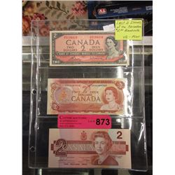 Last 3 issues of the Canadian $2 Bill