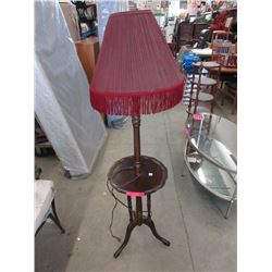 Vintage wood floor lamp with side table