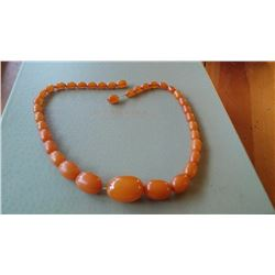 Vintage Butterscotch Egg Yolk Amber Bead Necklace 26g