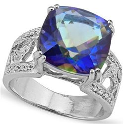 Natural Ocean Mystic & Diamond Ring 6.8 carats
