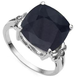 Natural Black Sapphire Diamond Ring
