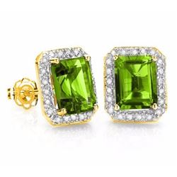 Natural Peridot & Diamond 14k Solid Gold Earrings