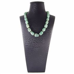 Natural Green Aventurine Diamond Polished Necklace