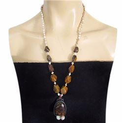 Petrified Wood Opal Hand-Made Diamond Polished Necklace