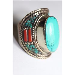 Tibet Hand Made Turquoise & Coral Ring