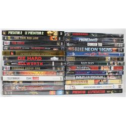 BOX OF 26 NEW DVDs INCLUDING DIE HARD, MAD MAX,
