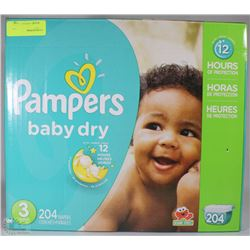 204PC PAMPERS BABY DRY DIAPERS