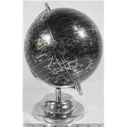 CHROME & BLACK DESK TOP GLOBE