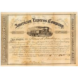 American Express Company Stock Certificate with Homer B Hawkins Signature