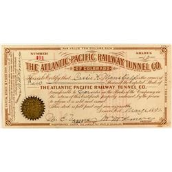 The Atlantic-Pacific Railway Tunnel Company Stock Certificate