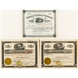 United Railways Company Stock Certificate Trio