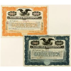 Two Alaska Gold Mines Company Stock Certificates